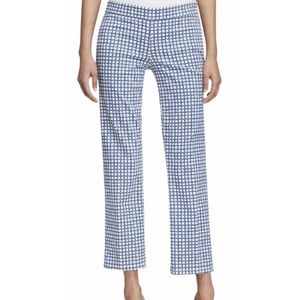 Tory Burch Blue & White Windowpane Pants Capri